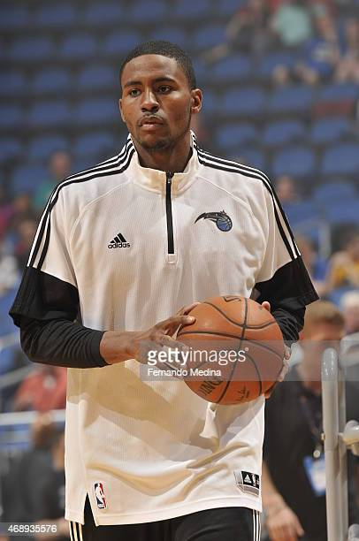 Maurice Harkless of the Orlando Magic warms up before a game against the Chicago Bulls on April 8 2015 at Amway Center in Orlando Florida NOTE TO...