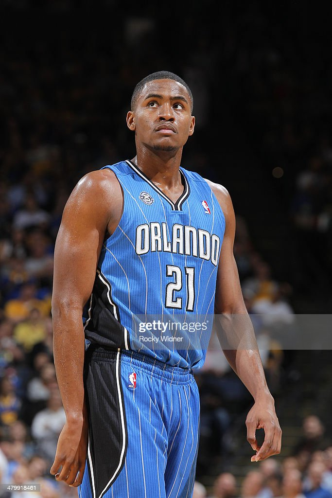 Maurice Harkless #21 of the Orlando Magic while facing the Golden State Warriors on March 18, 2014 at Oracle Arena in Oakland, California.