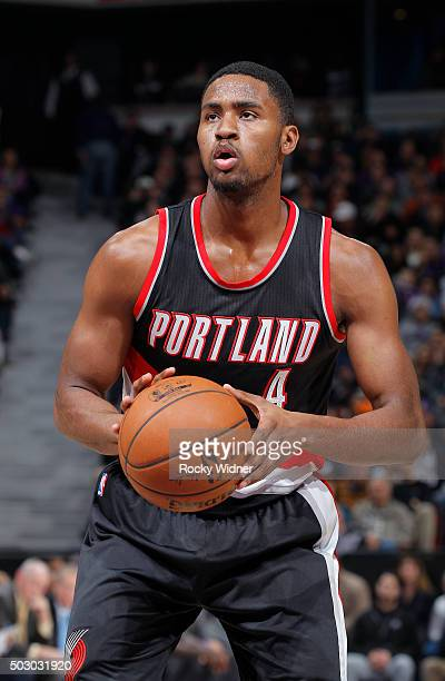 Maurice Harkless of the Portland Trail Blazers attempts a free throw shot against the Sacramento Kings on December 27 2015 at Sleep Train Arena in...