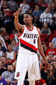 Maurice Harkless of the Portland Trail Blazers calls out a play against the Sacramento Kings during the preseason game on October 5 2015 at the Moda...