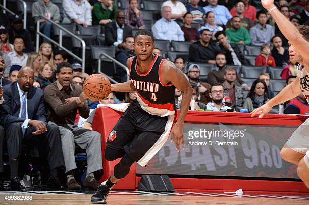 Maurice Harkless of the Portland Trail Blazers drives to the basket against the Los Angeles Clippers on November 30 2015 at STAPLES Center in Los...