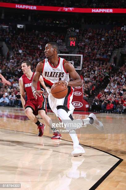 Maurice Harkless of the Portland Trail Blazers drives to the basket against the Miami Heat on April 2 2016 at the Moda Center in Portland Oregon NOTE...
