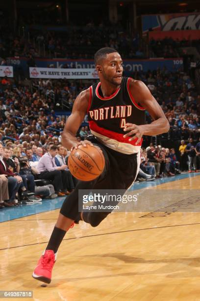 Maurice Harkless of the Portland Trail Blazers drives to the basket against the Oklahoma City Thunder during the game on March 7 2017 at Chesapeake...