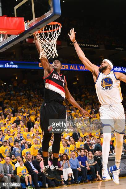 Maurice Harkless of the Portland Trail Blazers goes for a dunk during the game against the Golden State Warriors during Game Two of the Western...