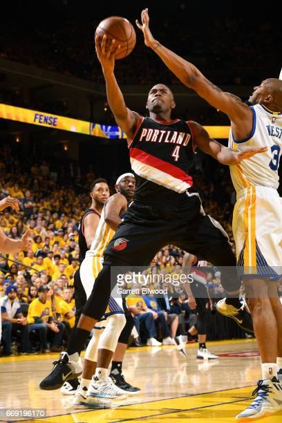 Maurice Harkless of the Portland Trail Blazers goes for a lay up during the game against the Golden State Warriors during the Western Conference...