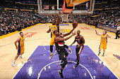 Maurice Harkless of the Portland Trail Blazers goes for the layup against the Los Angeles Lakers during the preseason game on October 19 2015 at...