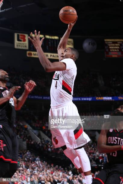 Maurice Harkless of the Portland Trail Blazers goes up for a dunk during a game against the Houston Rockets on March 30 2017 at the Moda Center in...
