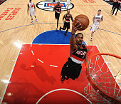 Maurice Harkless of the Portland Trail Blazers goes up for the layup against the Los Angeles Clippers on March 24 2016 at STAPLES Center in Los...
