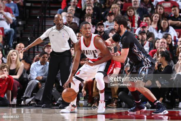 Maurice Harkless of the Portland Trail Blazers handles the ball during a game against the Minnesota Timberwolves on April 6 2017 at the Moda Center...