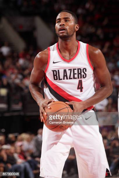 Maurice Harkless of the Portland Trail Blazers handles the ball during a preseason game against the Phoenix Suns on October 3 2017 at the Moda Center...
