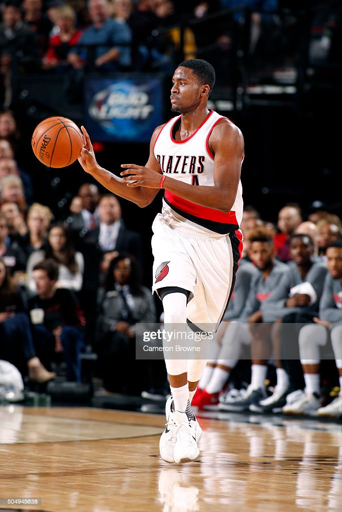 Maurice Harkless #4 of the Portland Trail Blazers handles the ball during the game against the Utah Jazz on January 13, 2016 at the Moda Center in Portland, Oregon.