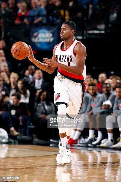 Maurice Harkless of the Portland Trail Blazers handles the ball during the game against the Utah Jazz on January 13 2016 at the Moda Center in...