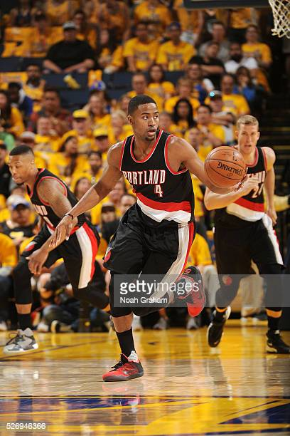 Maurice Harkless of the Portland Trail Blazers handles the ball during the game against the Golden State Warriors in Game One of the Western...