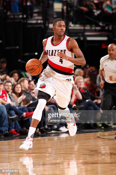 Maurice Harkless of the Portland Trail Blazers handles the ball against the Denver Nuggets on October 16 2016 at the Moda Center in Portland Oregon...