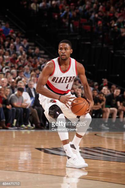Maurice Harkless of the Portland Trail Blazers handles the ball against the Boston Celtics during the game on February 9 2017 at the Moda Center in...