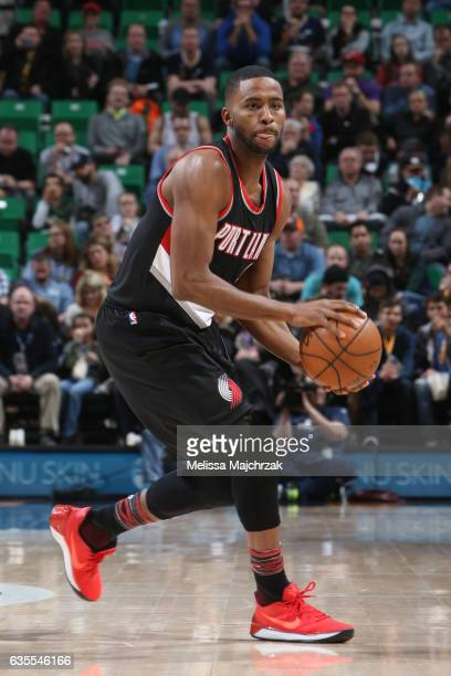 Maurice Harkless of the Portland Trail Blazers handles the ball against the Utah Jazz on February 15 2017 at vivintSmartHome Arena in Salt Lake City...