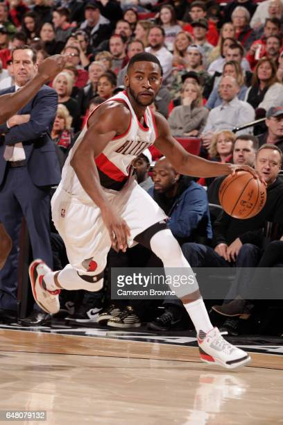 Maurice Harkless of the Portland Trail Blazers handles the ball against the Brooklyn Nets on March 4 2017 at the Moda Center in Portland Oregon NOTE...