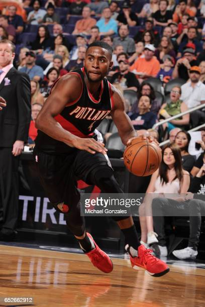 Maurice Harkless of the Portland Trail Blazers handles the ball against the Phoenix Suns on March 12 2017 at Talking Stick Resort Arena in Phoenix...