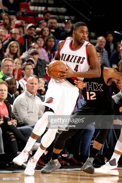 Maurice Harkless of the Portland Trail Blazers handles the ball during the game against the Phoenix Suns on April 1 2017 at the Moda Center in...