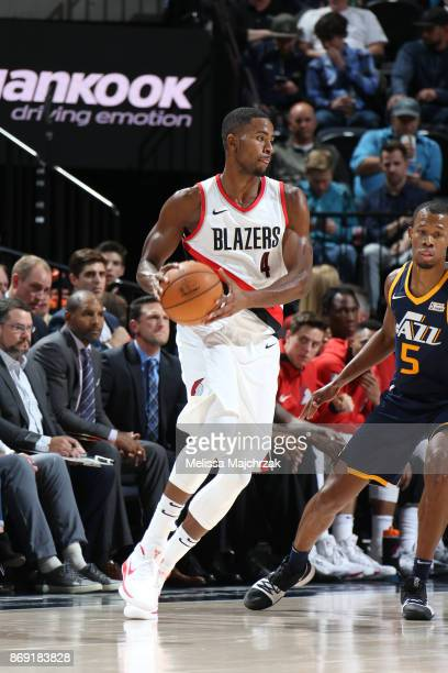 Maurice Harkless of the Portland Trail Blazers handles the ball against the Utah Jazz on November 1 2017 at vivintSmartHome Arena in Salt Lake City...