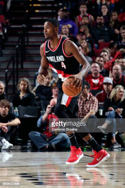 Maurice Harkless of the Portland Trail Blazers handles the ball against the Los Angeles Lakers on November 2 2017 at the Moda Center in Portland...