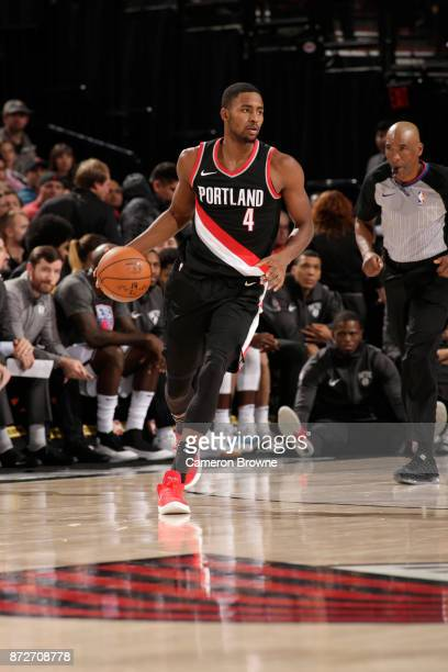 Maurice Harkless of the Portland Trail Blazers handles the ball against the Brooklyn Nets on November 10 2017 at the Moda Center in Portland Oregon...