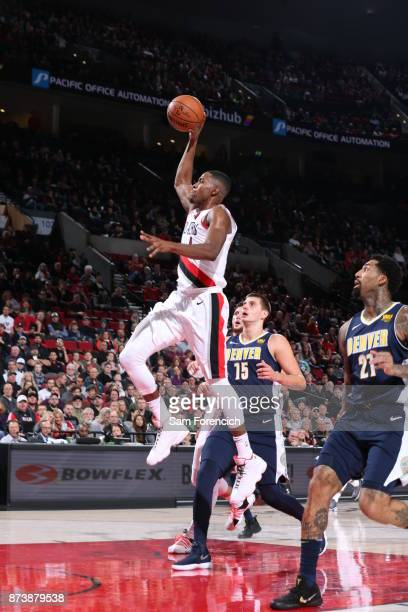 Maurice Harkless of the Portland Trail Blazers handles the ball against the Denver Nuggets on November 13 2017 at the Moda Center in Portland Oregon...