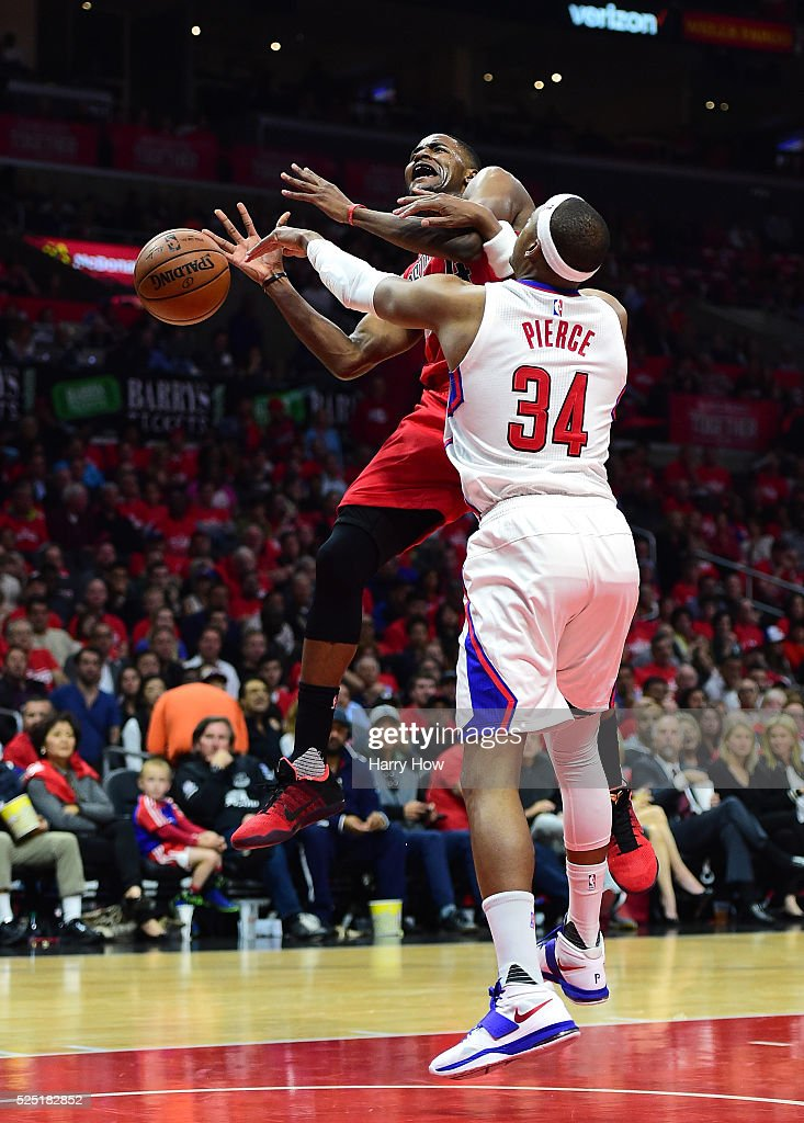 Maurice Harkless #4 of the Portland Trail Blazers is fouled on a layup by Paul Pierce #34 of the Los Angeles Clippers in Game Five of the Western Conference Quarterfinals during the 2016 NBA Playoffs on April 27, 2016 in Los Angeles, California.