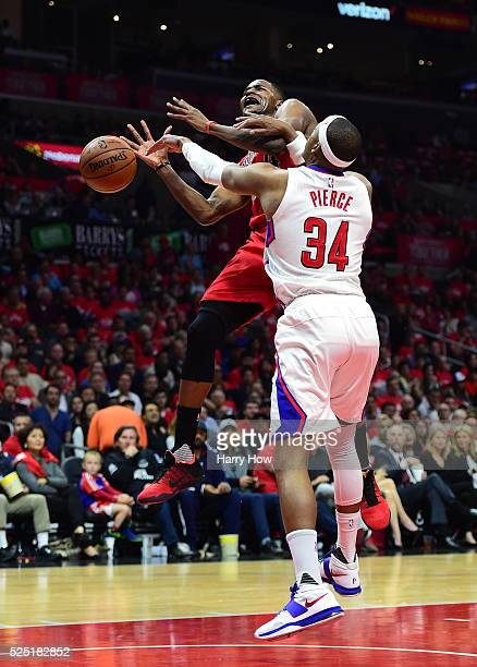 Maurice Harkless of the Portland Trail Blazers is fouled on a layup by Paul Pierce of the Los Angeles Clippers in Game Five of the Western Conference...