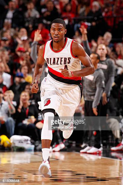 Maurice Harkless of the Portland Trail Blazers is seen during the game against the Denver Nuggets on October 16 2016 at the Moda Center in Portland...