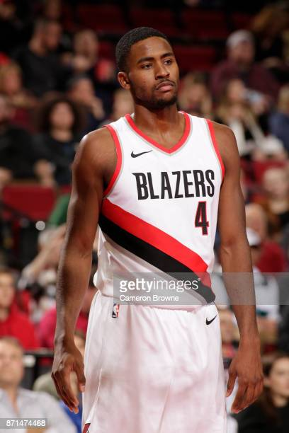 Maurice Harkless of the Portland Trail Blazers looks on against the Memphis Grizzlies on November 7 2017 at the Moda Center in Portland Oregon NOTE...
