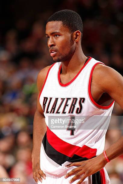 Maurice Harkless of the Portland Trail Blazers looks on during the game against the Utah Jazz on January 13 2016 at the Moda Center in Portland...