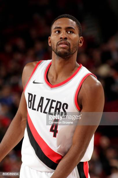 Maurice Harkless of the Portland Trail Blazers reacts during the preseason game against the Toronto Raptors on October 5 2017 at the Moda Center in...