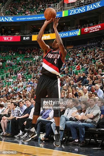 Maurice Harkless of the Portland Trail Blazers shoots against the Utah Jazz during a preseason game at EnergySolutions Arena on October 12 2015 in...