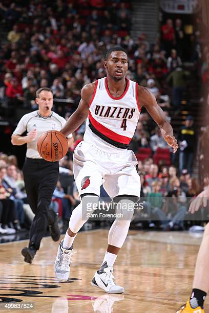 Maurice Harkless of the Portland Trail Blazers shoots the ball against the Indiana Pacers on December 3 2015 at the Moda Center in Portland Oregon...