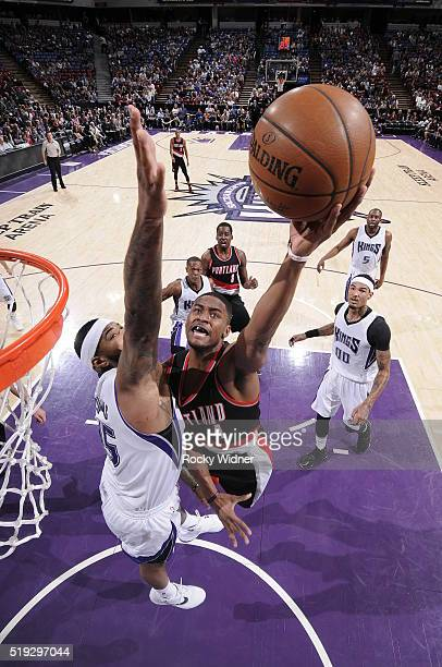 Maurice Harkless of the Portland Trail Blazers shoots the ball against the Sacramento Kings on April 5 2016 at Sleep Train Arena in Sacramento...