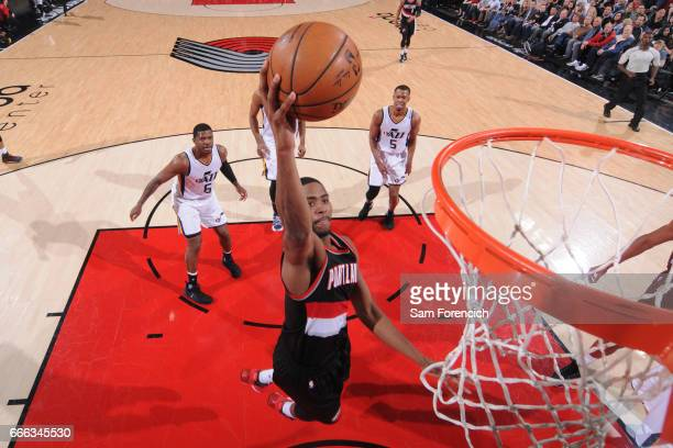 Maurice Harkless of the Portland Trail Blazers stb against the Utah Jazz on April 8 2017 at the Moda Center in Portland Oregon NOTE TO USER User...
