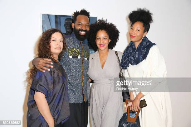 Maurice Harris Aryn DrakeLee Williams and guest attend MOCA's Leadership Circle and Members' Opening of Kerry James Marshall Mastry at MOCA Grand...