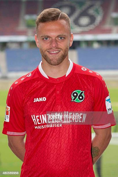Maurice Hirsch poses during the team presentation of Hannover 96 at HDIArena on July 13 2015 in Hanover Germany