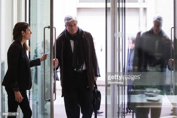 Maurice Levy chief executive officer of Publicis Groupe SA center arrives ahead of a Bloomberg Television interview on the 'Leaders Lunch' show in...