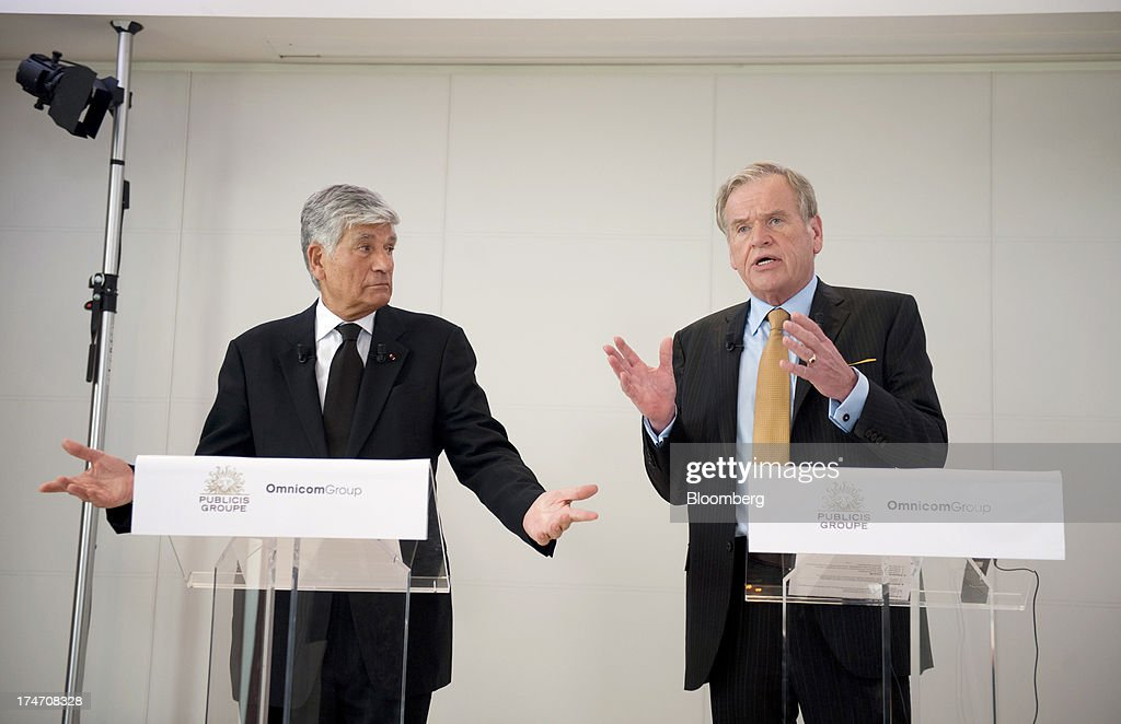 <a gi-track='captionPersonalityLinkClicked' href=/galleries/search?phrase=Maurice+Levy&family=editorial&specificpeople=588854 ng-click='$event.stopPropagation()'>Maurice Levy</a>, chief executive officer of Publicis Groupe SA, left, and John Wren, chief executive officer of Omnicom Group Inc., speak on the merger of the two companies during a news conference at the Publicis headquarters in Paris, France, on Sunday, July 28, 2013. Publicis Groupe SA and Omnicom Group Inc. agreed to merge in an all-stock transaction to create the world's largest advertising company with $23 billion in revenue, toppling market leader WPP Plc. Photographer: Balint Porneczi/Bloomberg via Getty Images