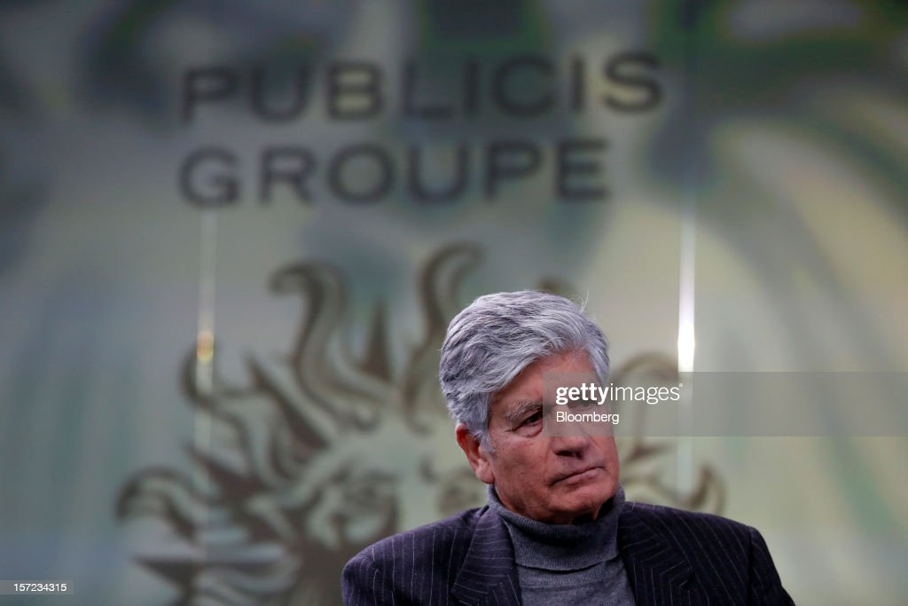 <a gi-track='captionPersonalityLinkClicked' href=/galleries/search?phrase=Maurice+Levy&family=editorial&specificpeople=588854 ng-click='$event.stopPropagation()'>Maurice Levy</a>, chief executive officer of Publicis Groupe SA, pauses during a Bloomberg Television interview in London, U.K., on Friday, Nov. 30, 2012. Publicis, who owns the Leo Burnett and Saatchi & Saatchi ad agencies, joins WPP Plc, the largest advertising company, among media companies hurt by a slowdown in ad spending. Photographer: Simon Dawson/Bloomberg via Getty Images