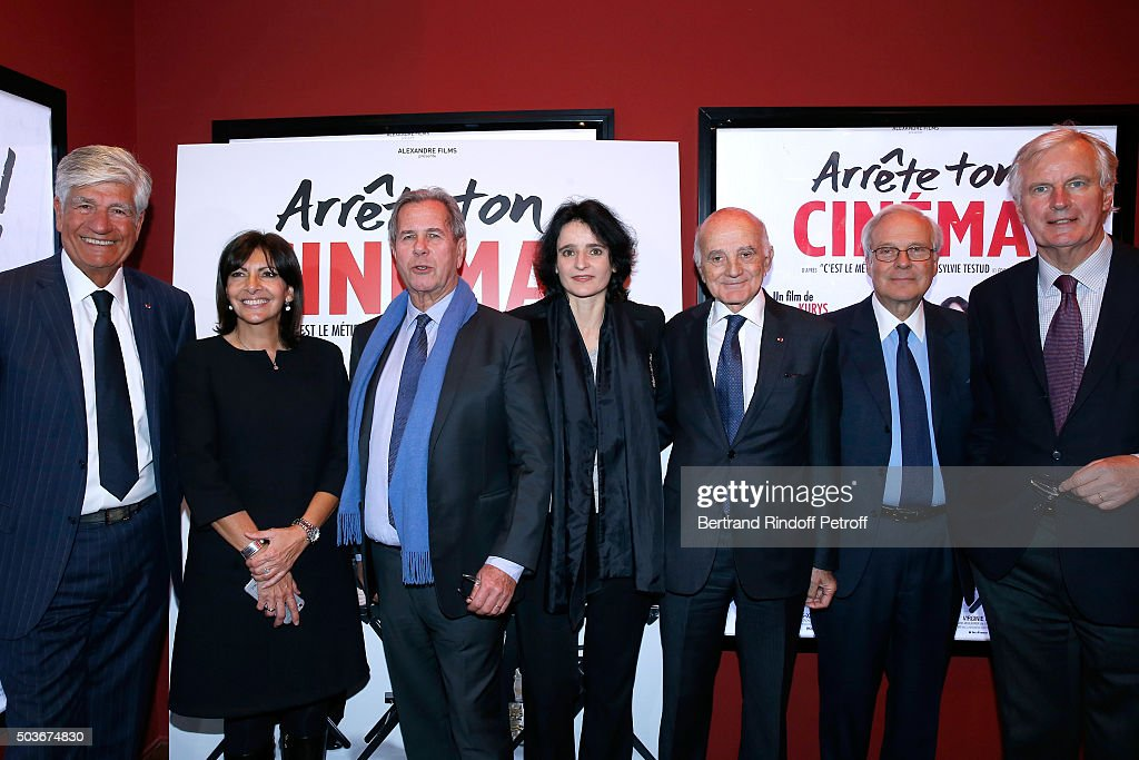<a gi-track='captionPersonalityLinkClicked' href=/galleries/search?phrase=Maurice+Levy&family=editorial&specificpeople=588854 ng-click='$event.stopPropagation()'>Maurice Levy</a>, Mayor of Paris <a gi-track='captionPersonalityLinkClicked' href=/galleries/search?phrase=Anne+Hidalgo&family=editorial&specificpeople=590989 ng-click='$event.stopPropagation()'>Anne Hidalgo</a>, <a gi-track='captionPersonalityLinkClicked' href=/galleries/search?phrase=Jean-Louis+Debre&family=editorial&specificpeople=539986 ng-click='$event.stopPropagation()'>Jean-Louis Debre</a>, Valerie Bochenek, Professor Gerard Saillant, Baron David de Rothschild and <a gi-track='captionPersonalityLinkClicked' href=/galleries/search?phrase=Michel+Barnier&family=editorial&specificpeople=220639 ng-click='$event.stopPropagation()'>Michel Barnier</a> attend the 'Arrete Ton Cinema !' Paris Premiere at Publicis Champs Elysees on January 6, 2016 in Paris, France.