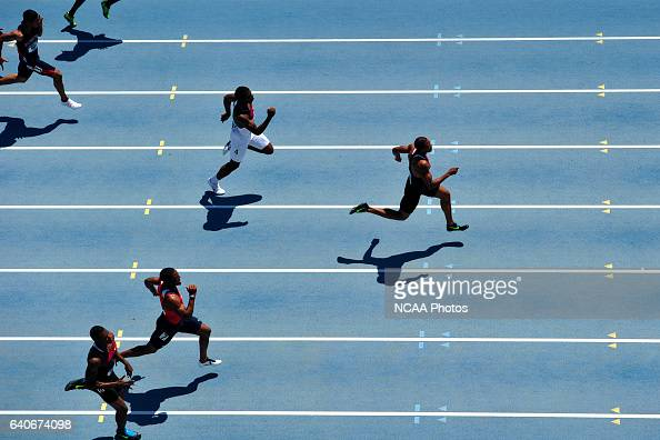 Maurice Mitchell of Florida State leads the pack in the men's 200 meter race during the Division I Men's and Women's Outdoor Track and Field...