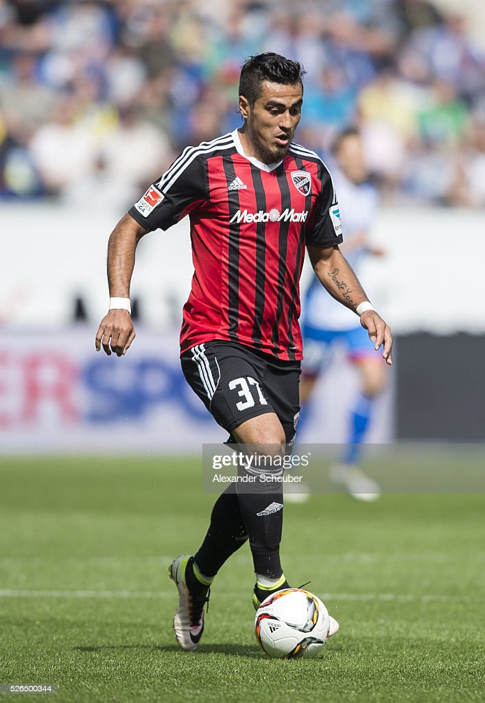 Maurice Multhaup of FC Ingolstadt during the first bundesliga match between 1899 Hoffenheim and FC Ingolstadt at Wirsol Rhein-Neckar-Arena on April 30, 2016 in Sinsheim, Germany.