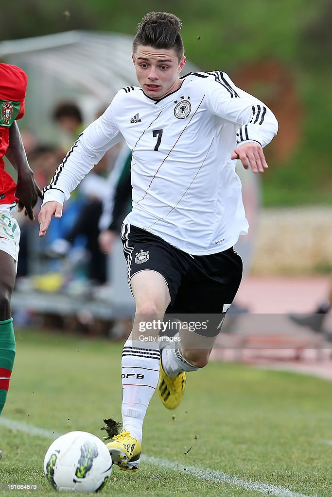 Maurice Multhaup of Germany in action during the Under17 Algarve Youth Cup match between U17 Portugal and U17 Germany at the Stadium Bela Vista on February 12, 2013 in Parchal, Portugal.