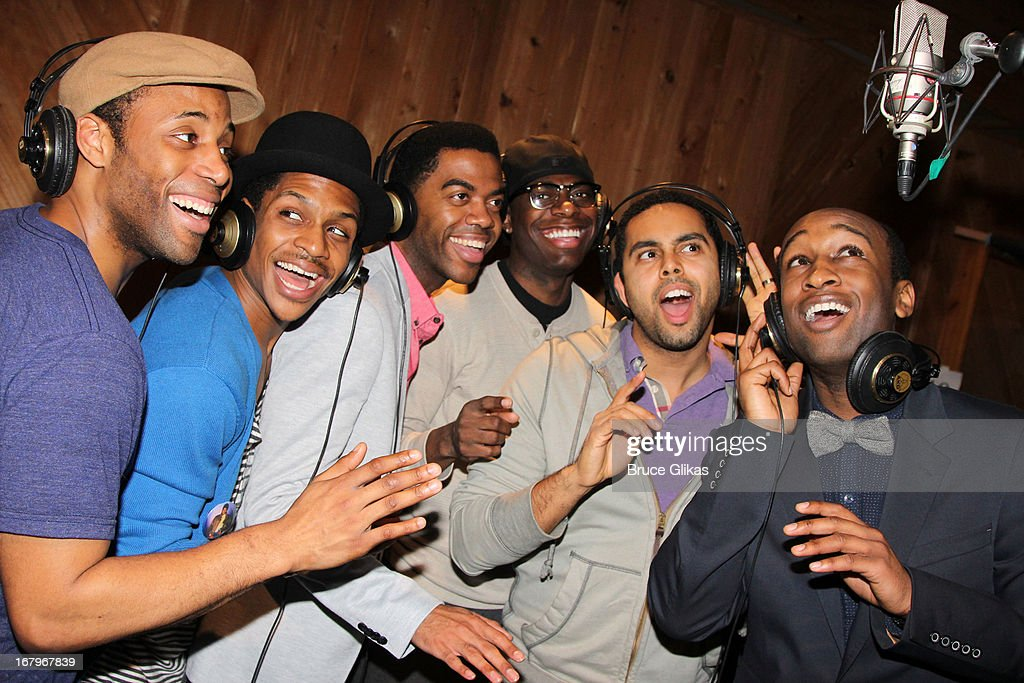 Maurice Murphy, Ephraim Sykes, Julius Thomas III, Jawan M. Jackson, Jesse Nager and Donald Webber Jr. attend Broadway's 'Motown:The Musical' Original Broadway Cast Recording Session at MSR Studios in Times Square on May 2, 2013 in New York City.