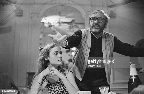 Maurice Pialat directs the last dinner scene of his film A Nos Amours starring the upcoming 18yearold French actress Sandrine Bonnaire