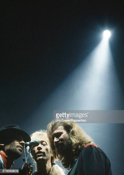 Maurice Robin and Barry Gibb of the Bee Gees performing on stage at the Wembley Arena in London on the 7th July 1991