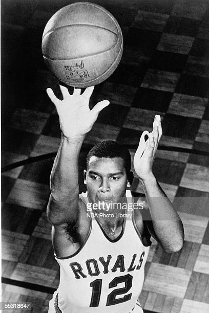 Maurice Stokes of the Cincinnati Royals shoots a jump shot during a mock action portrait session in 1958 NOTE TO USER User expressly acknowledges and...